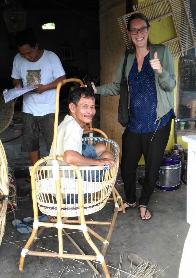 Rotan wiegje op Bali